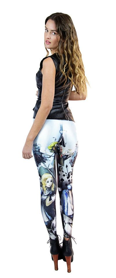 Printed leggings - Funky leggings Alice In the wonderland! Pants - Tights - Playing Cards, Queen. sizes s, m, l, xl