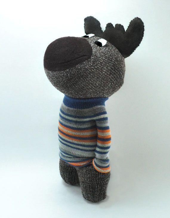 Handmade Canadian Moose Sock Animal striped sweater by sockart