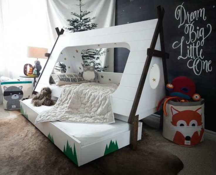 Awesome-looking toddler teepee bed under the stars - 10 Camp Themed Bedrooms | Tinyme Blog