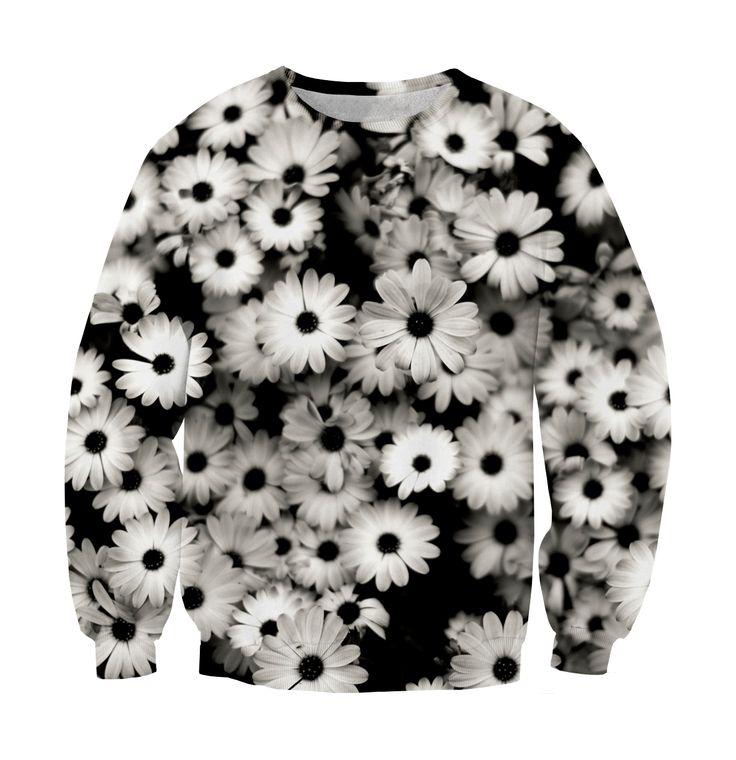 Sweatshirt black flowers