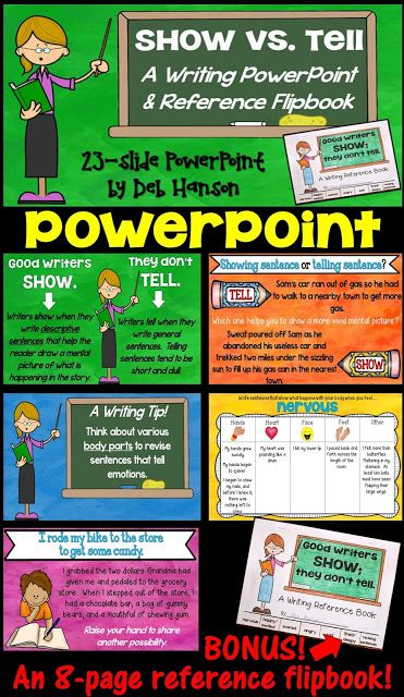 Show, Don't Tell PowerPoint and Flipbook! A great writing lesson!
