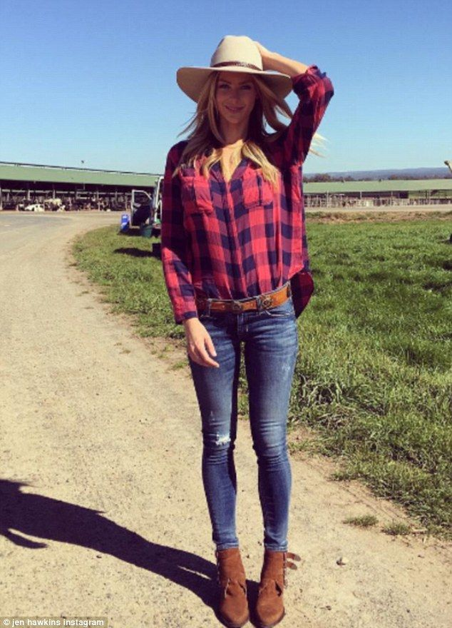 Hanging up the heels? Jennifer Hawkins showed off her long legs on Wednesday as she dressed in a pair of  skinny jeans while on a farm for latest ambassadorship with Freedom Foods