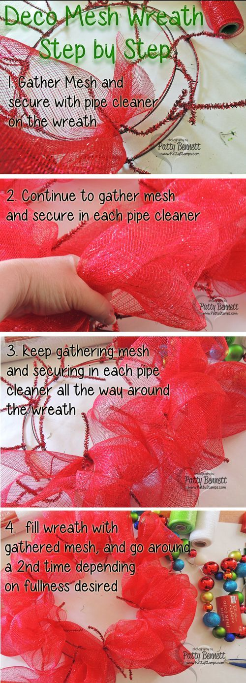 www.PattyStamps.com - how to create your Deco Mesh Wreath for Christmas by Patty Bennett