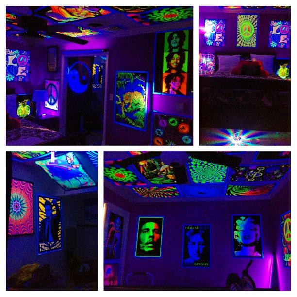 Hippy black light room | Bedroom | Pinterest | Black Light ...