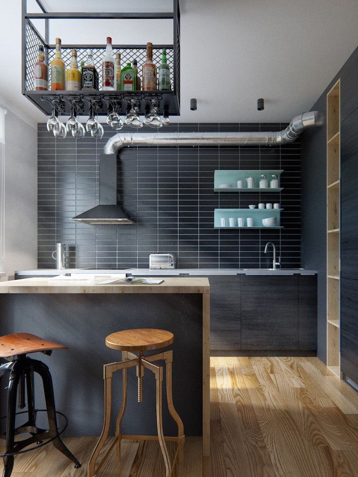 Modern Industrial Kitchen Design With Cool Black Brick Wall