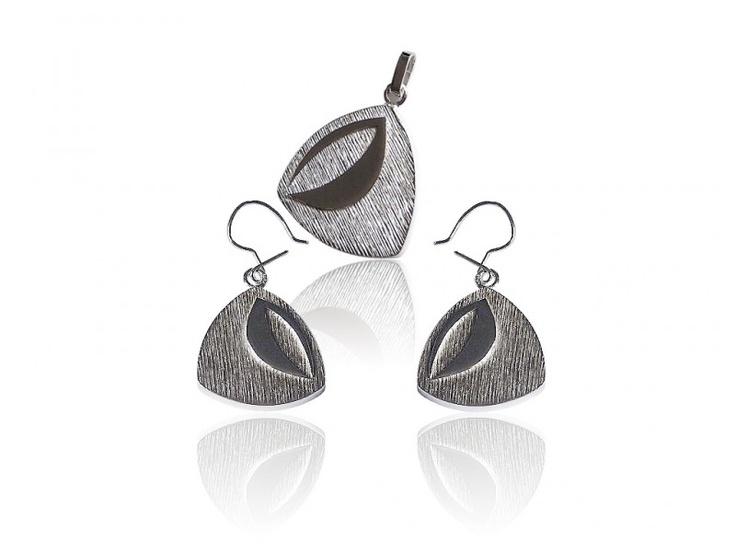 Silver jewellery set - earrings + pendant