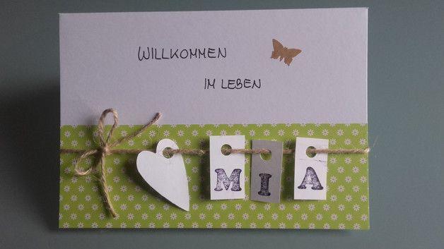 Süße Karte zur Geburt oder Taufe! Einfach Wunschnamen mitteilen! - wird mit Umschlag und Schutzfolie versandt - mit Liebe handgefertigt! (Diy Geschenke Basteln)