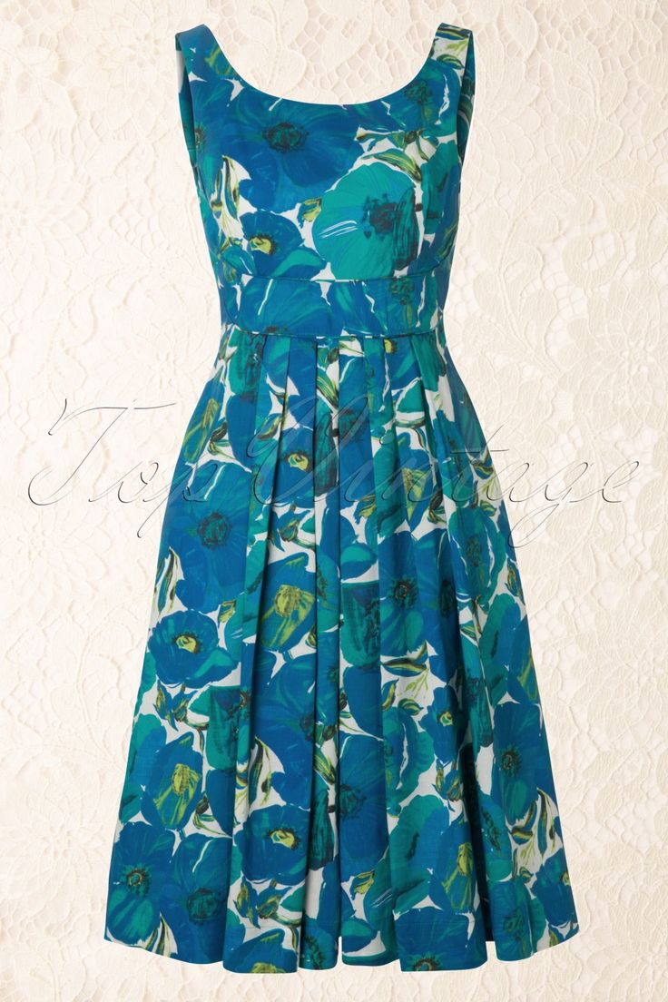 Emily and Fin by TopVintage - 50s Isobel Blue Poppy Dress