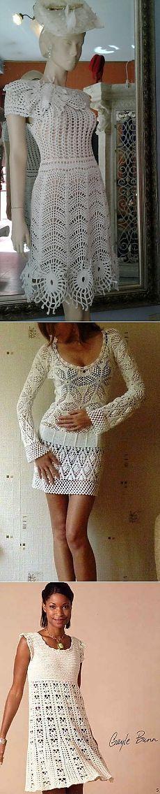 Белые платья, туники крючком.