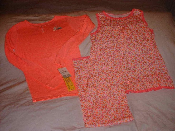 3 Piece CARTERS Girls Hot Pink Coral Mouse Cake Flowers Glitter Set Size 14 NWT #Carters #PajamaSet
