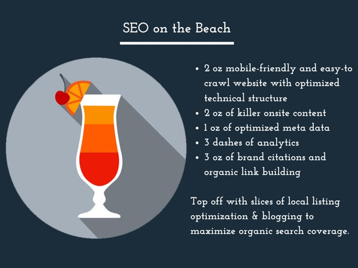 SEO on the Beach: Top off with slices of local listing optimization & blogging to maximize organic search coverage.