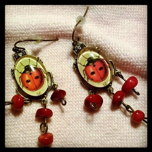 #ladybug  #earrings #savipaja #korupaja #Peltoranta #Finland #Finnish #handmade #jewelry