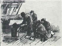 Weaver with Other Figures in Front of Loom - Vincent van Gogh