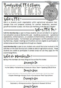 FFA- Recruitment This is a half page document (front and back) that I designed to help promote FFA to incoming freshman for our club fair this week during their Orientation. I am also planning on sending it home with my upper level students as a reminder the first day of school.