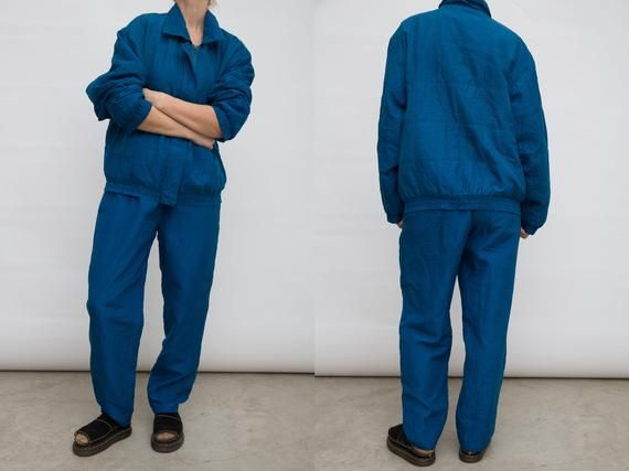 d6ae64a1b3bd7 80s Blue Track Suit, Blue Silk Suit, Two Piece Pants Suit, Vintage ...