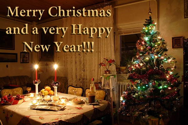 Photo print of Christmas tree and candles on Christmas table, , antique decorated room, Christmas or New Year card. $5.00, via Etsy.