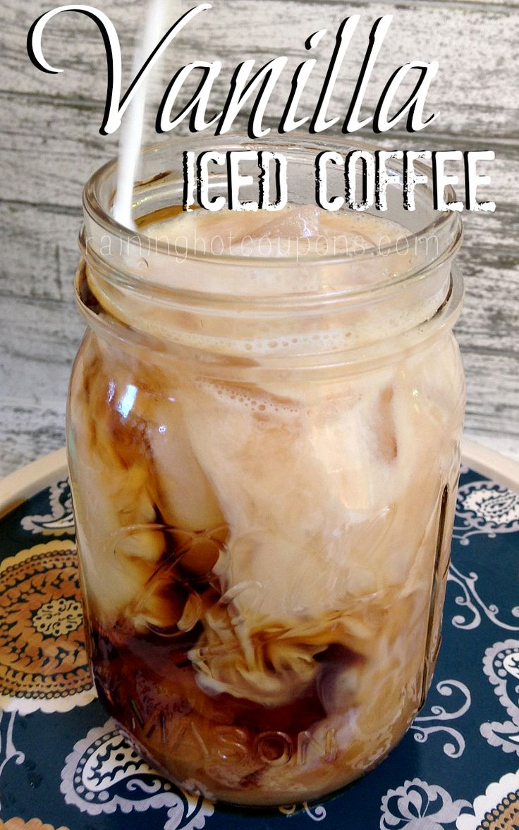 Vanilla Iced Coffee 1 K-Cup or 1 Cup of Coffee Ice Cubes Milk or cream Vanilla Simple Syrup (makes a large amount which can be stored in the fridge for up to 2 weeks to use over and over again for more iced coffee drinks!): 1 cup water 1 cup sugar 1 tsp vanilla