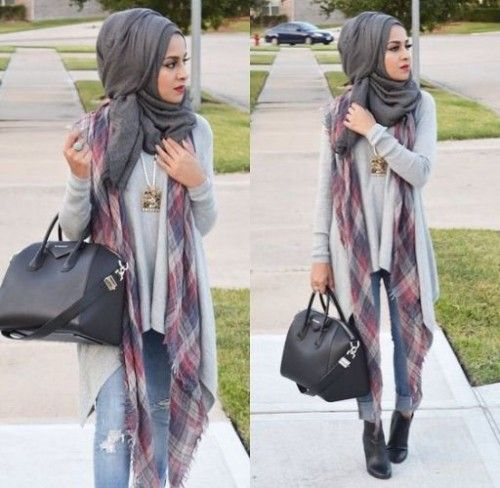 plaid scarf hijab style, Hijab looks by Sincerely Maryam http://www.justtrendygirls.com/hijab-looks-by-sincerely-maryam/