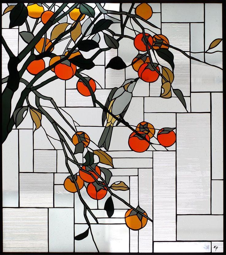 和風ステンドグラス「柿」