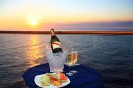 Champagne cruising at sunset