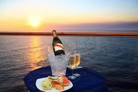 Champagne cruising at sunset