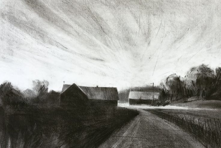 'August skies', charcoal and graphite. Magnus Petersson, 2017.