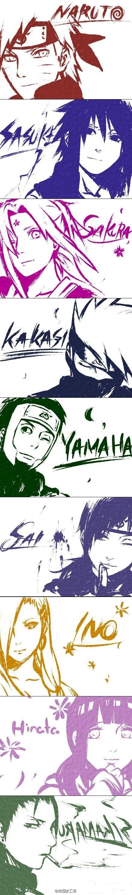 Naruto, Sasuke, Sakura, Kakashi, Yamato, Sai, Ino, Hinata and Shikamaru