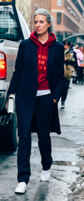 Sarah Harris, British Vogue, Street Style, NYFW, New York Fashion Week, Vetements Hoodie.