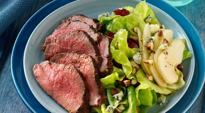 Spiced Tri-Tip Roast with Pear, Radicchio and Blue Cheese Salad