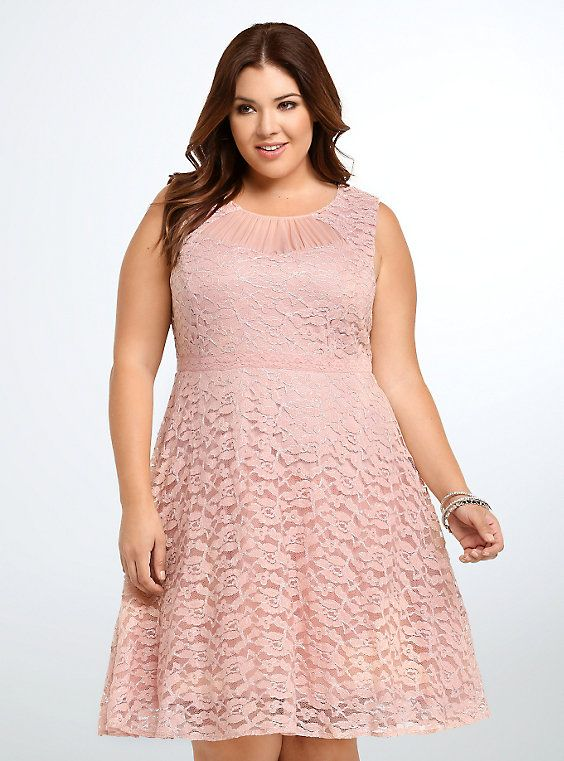 Lace Metallic Party Dress, PINK DUST