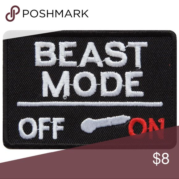 """Patch Beast Mode, Iron On Embroidered Appliqué Beast Mode Iron On Patch, Sew on Patch. Customize clothes, backpacks, hats, denim with DIY patches. High quality embroidered patch. Size: 2-15/16""""w x 2"""" h Accessories"""