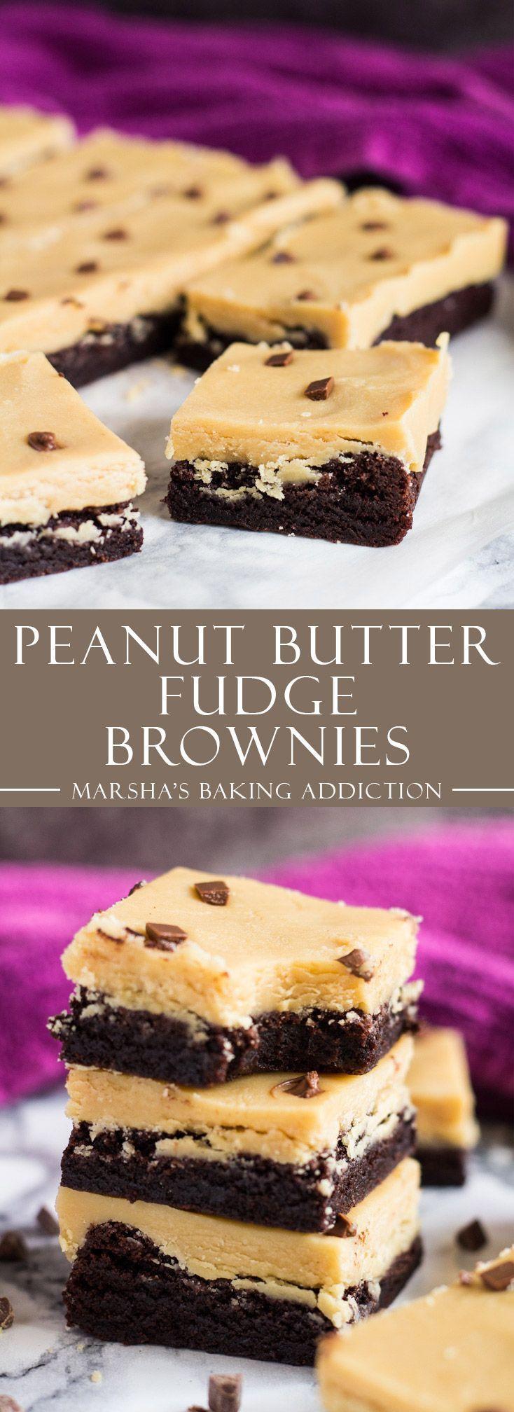 Peanut Butter Fudge Brownies   http://marshasbakingaddiction.com /marshasbakeblog/