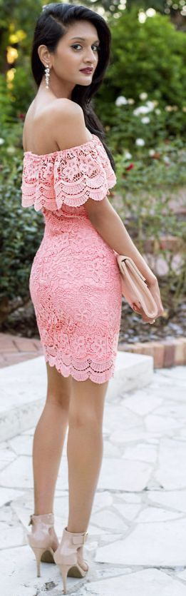 All about off the shoulder lace- pink flatters any skin tone. Love it!