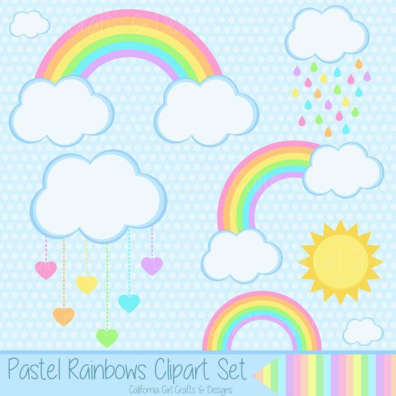Pastel Rainbows Clipart Set - Rainbows, Clouds, Sun ...