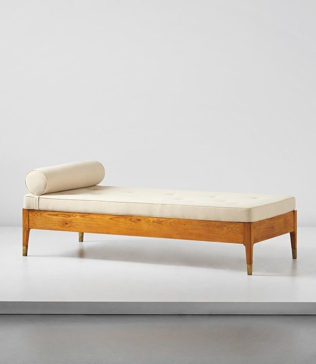 gio ponti | oak and brass daybed for the fondazione garzanti, c1959