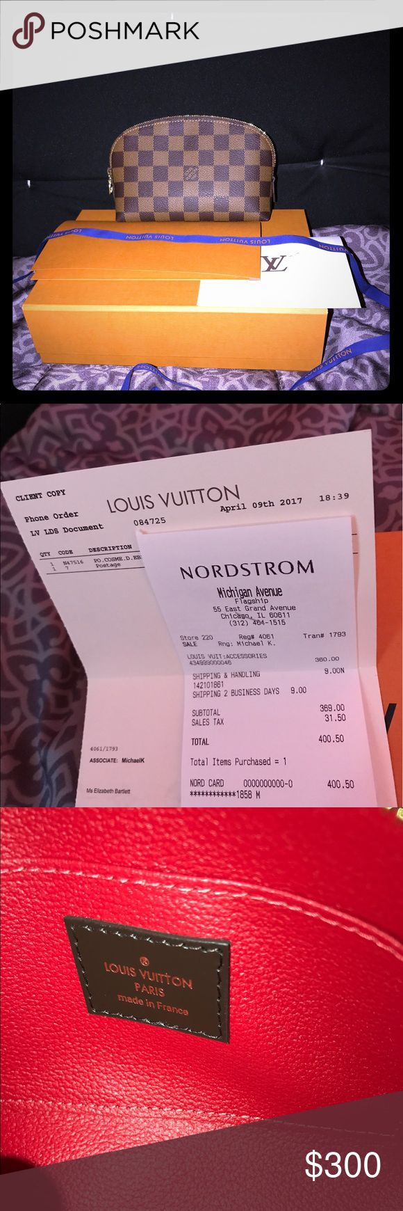 Louis Vuitton Cosmetic PM FIRM ON PRICE/NO LOWBALLERS/NO TRADES! Beautiful Louis Vuitton Damier Ebene Cosmetic PM. Purchased April 9, 2017 from the louis vuitton boutique at the chicago nordstrom store, purchased with my nordstrom credit card for $400.50. Made in France Date-Code: SR1127 In perfect like new condition comes with box, ribbon, dustbag, louis vuitton envelope with my receipt. Only reason i'm selling is because I need the money. Louis Vuitton Bags Cosmetic Bags & Cases