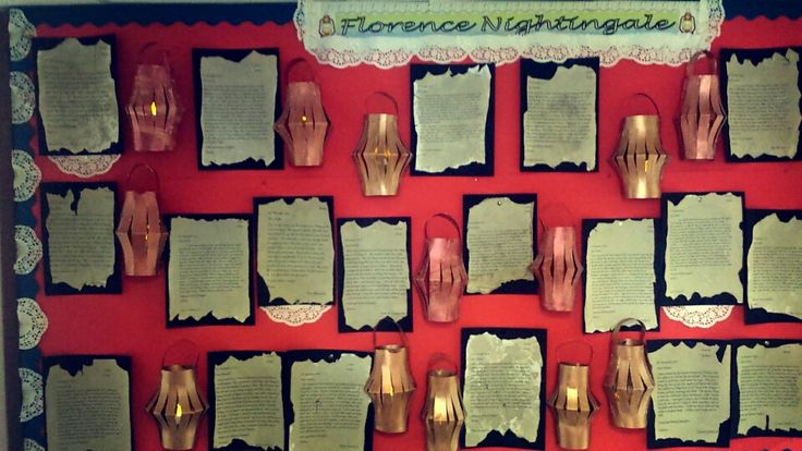 florence nightingale display -we made letters from florence nightingale to her parents explaining about the war and aged them with coffee -we made paper lanterns and pinned tea lights inside for effect( although this is hard to see in the pic) -we added doilies around the heading and border from an old feel! simple but effect display and when the tealights are turned on its very pretty.