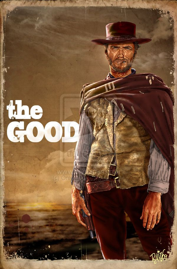 """Clint Eastwood is The man with no name,  in Sergio Leone's """"The Good, the Bad & the Ugly"""" #Eastwood #Movie #Illustration"""