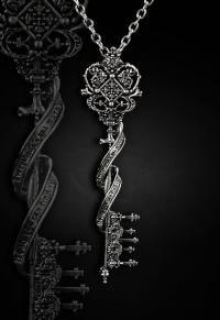 RESTYLE.FR Collier clé pour le pays des merveilles ... clé style gothique avec un ruban contenan