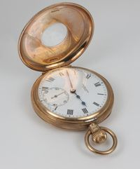 Lot No 793 A gentleman's 9ct gold half hunter pocket watch with seconds at 6 o'clock, the dial inscribed J W Benson, sold for £320