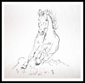 Grafika czarno-biała: koń w galopie