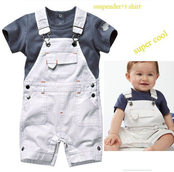 Cute Baby Clothes | free shipping 5sets/lot cute baby boys clothing set(suspender pants+t ...