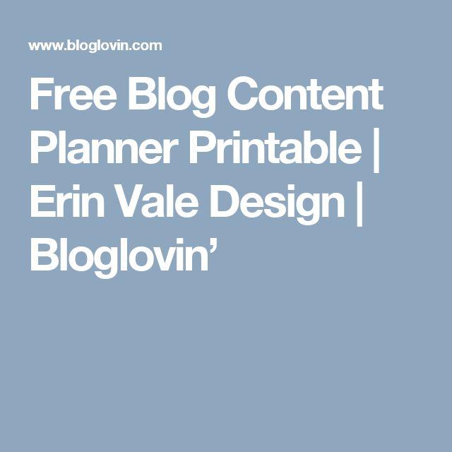 Free Blog Content Planner Printable   Erin Vale Design   Bloglovin'