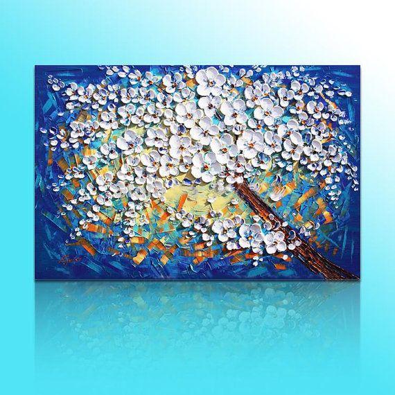Misura 1: 60x90cm (24 x 36 pollici) Dimensione 2: 80x120cm (32 x 48 pollici) Misura 3: 100x150cm (40 x 60 pollici) Ho aggiungere ulteriore 1,5 pollici bordo Se il vostro bisogno di altre dimensioni, si prega gentilmente di inviarmi un messaggio.  Tipo: Dipinto a mano Stile: Spessore acrilico pallette coltello pittura a olio astratta Soggetti: Alberi di ciliegio bianchi blu Medio: sicurezza e protezione ambientale vernice acrilica Base di supporto: olio su tela Canvas firma di artista: Sì…