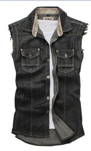 Hot-Mens-Stylish-Denim-Vest-Jean-Jacket-Sleeveless-Shirt-Biker-Button-waistcoat