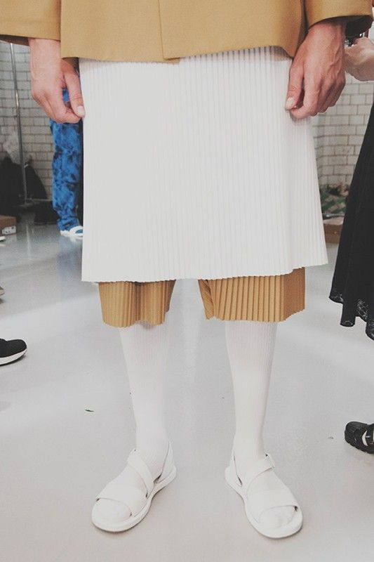 Agi & Sam SS15 Mens collections, Dazed backstage  cos pleat dress with pleat pants