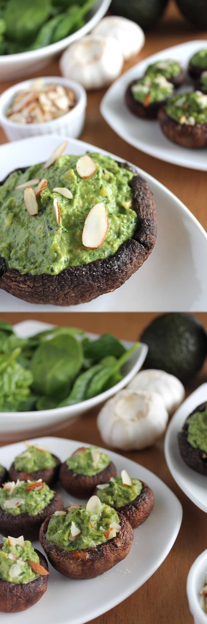 Spinach Avocado stuffed Portobellos--vegan, gluten-free, soy-free, and stress-free