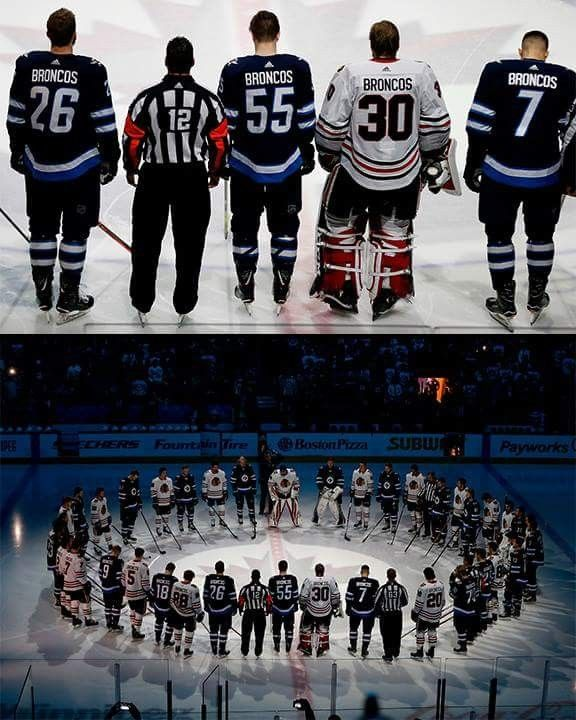 April 7, 2018 - Winnipeg Jets and Chicago Blackhawks stand together for a moment of silence to honour the Humboldt Broncos.