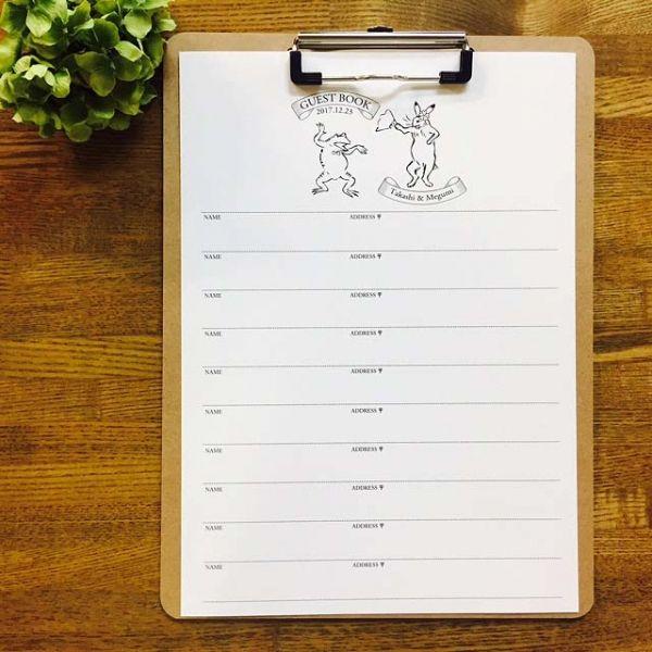 ゲストブック|芳名帳 | ゲストブック 芳名帳シート 鳥獣戯画 Aタイプ | ブライダル | ■【ゲストブック・芳名帳】 | 席札、席次表、ウェディングツリーや出産祝いに適したアイテムを取り揃えております