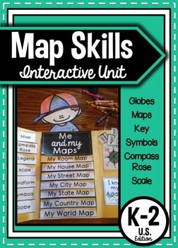 Map Skills Interactive Unit for kindergarten, first grade, and second grade.  This is the US version but if you need another country please let me know and I will get started on it.  This unit includes interactive journal pieces that could be put in journal or in a lapbook as I have on cover of this product.